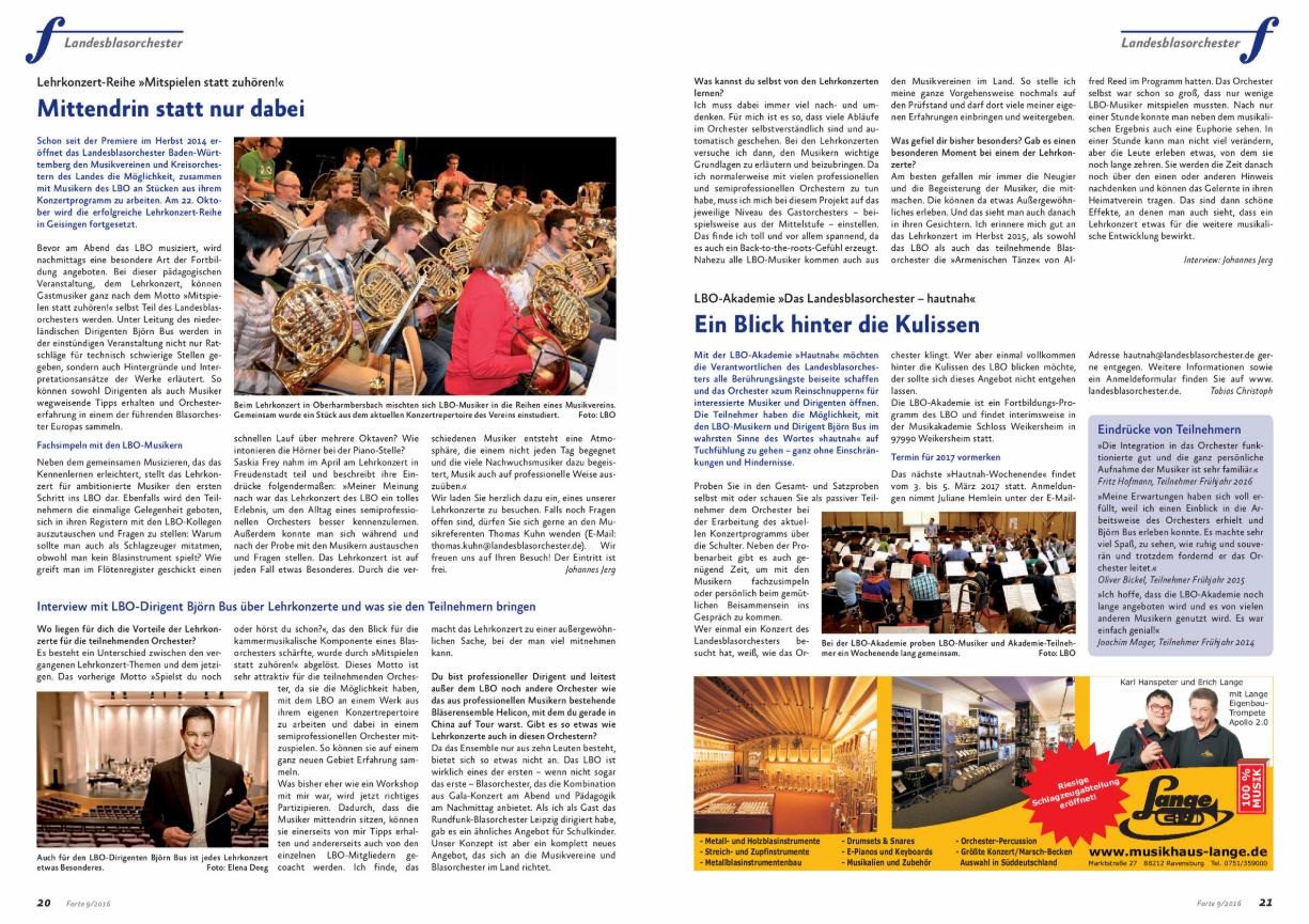 Interview Björn Bus | Landesblasorchester Baden-Württemberg